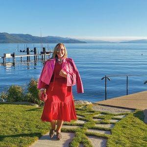 Midi-Length, Long Sleeve Ralph Lauren Dress (Red)